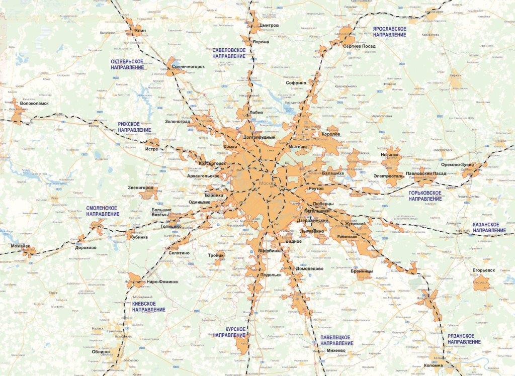 карта москвы и подмосковья с метро и электричками